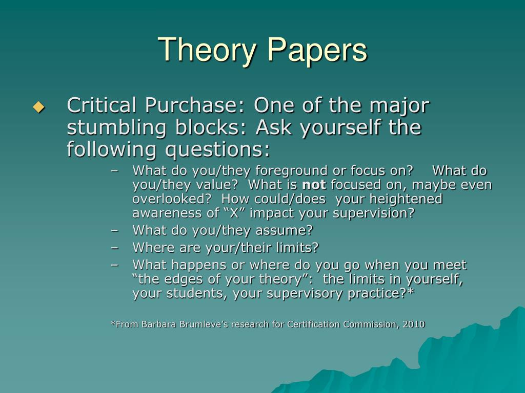 theory paper Writing economic theory papers by simon board and moritz meyer-ter-vehn october 2014 these notes aim to distill our advice concerning how to write a decent theory paper.
