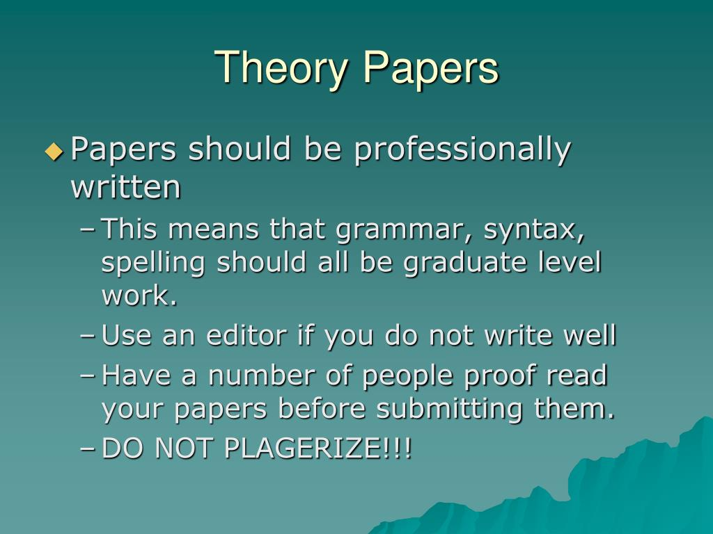 Writing a theory paper