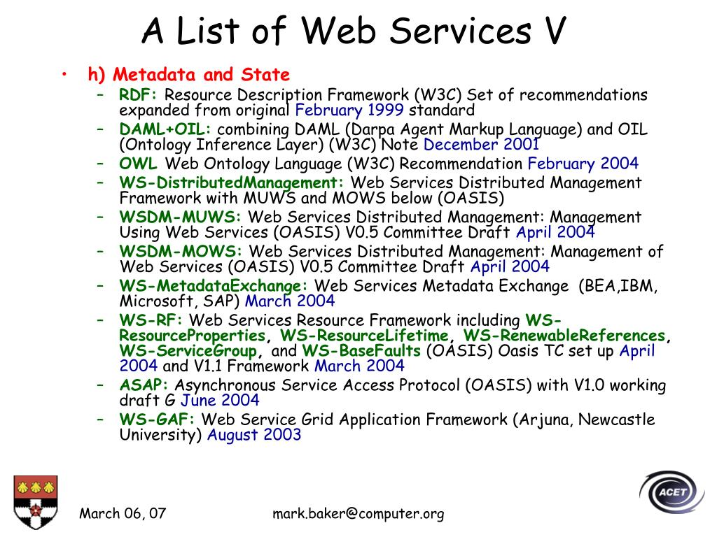 A List of Web Services V