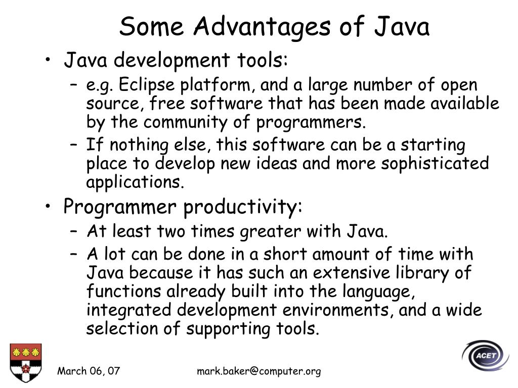 Some Advantages of Java