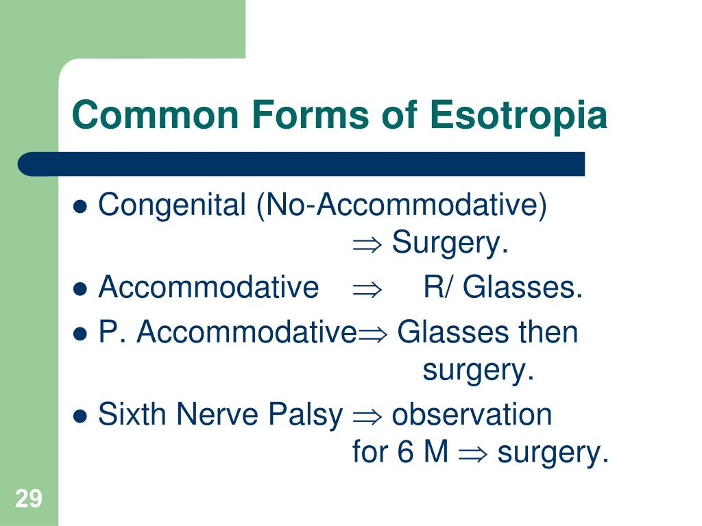 Common Forms of Esotropia