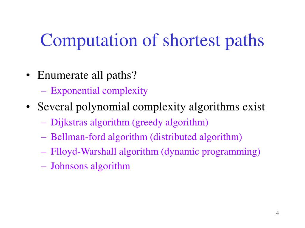 Computation of shortest paths