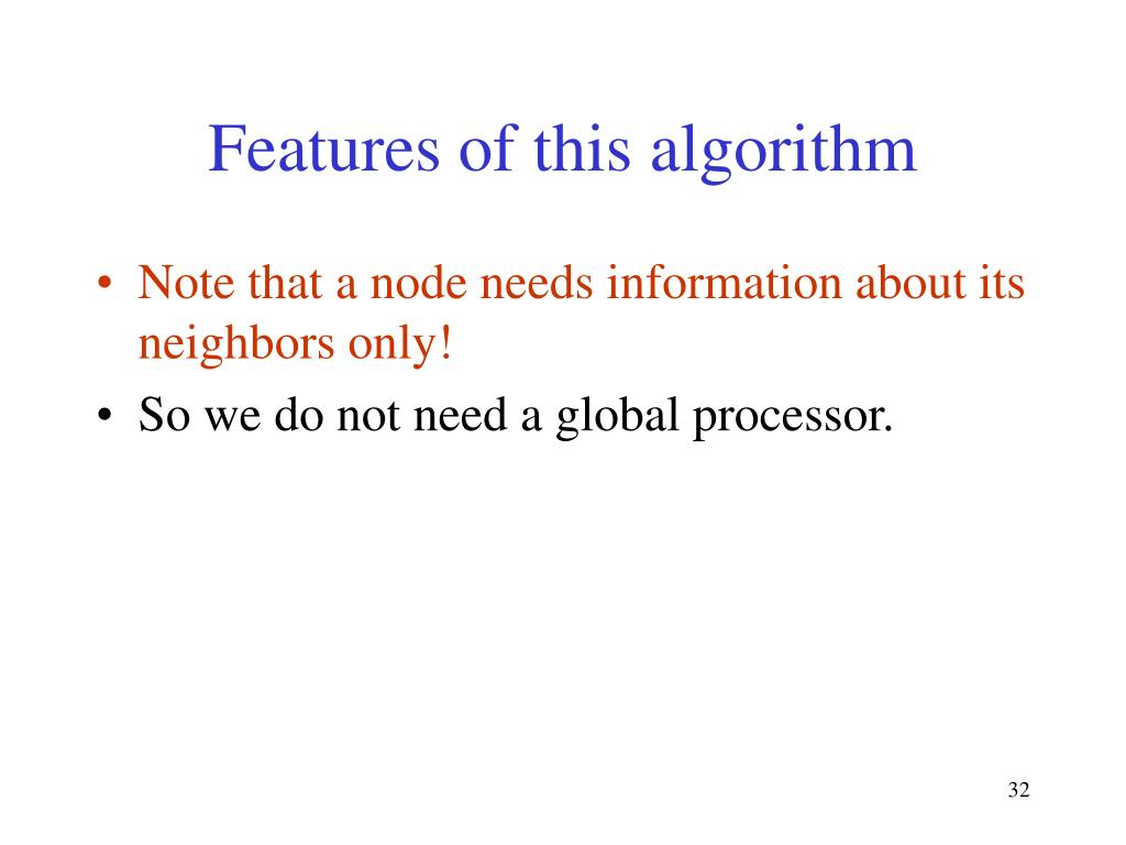 Features of this algorithm
