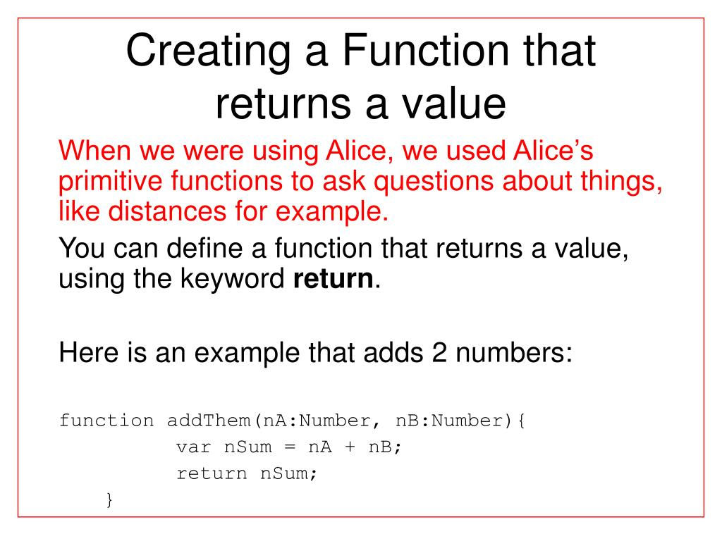 Creating a Function that returns a value