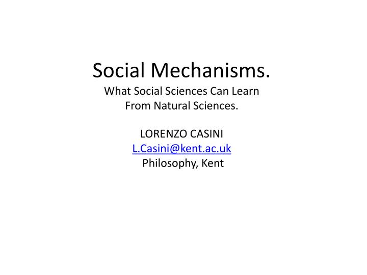 Social Mechanisms.