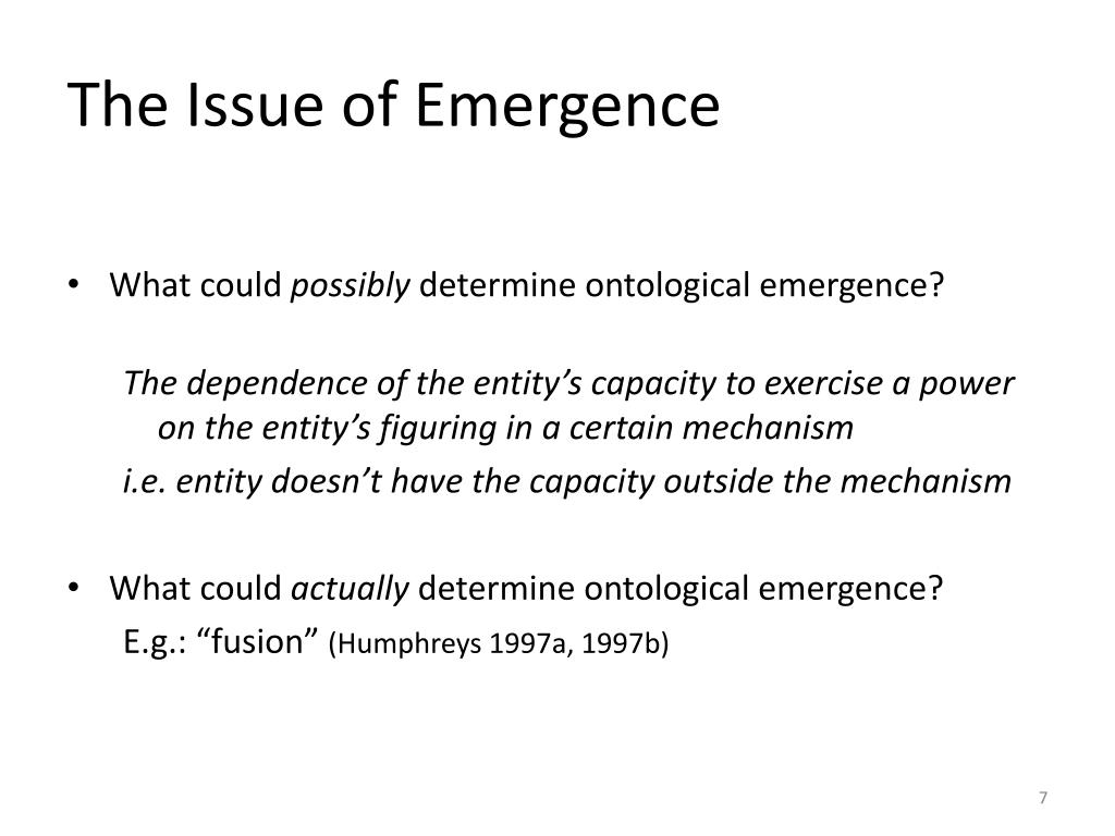 The Issue of Emergence