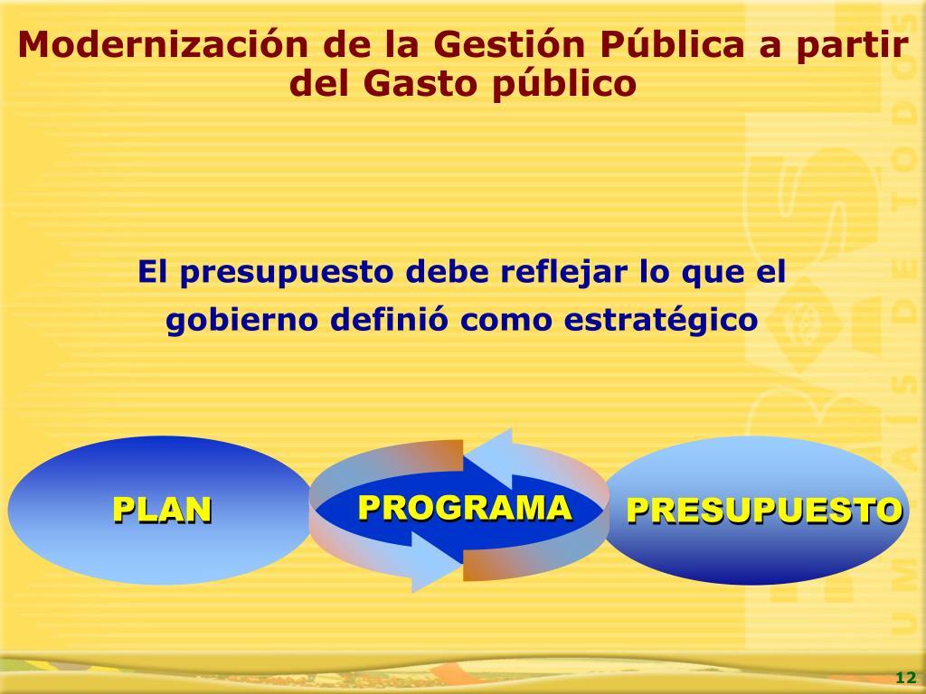 Modernización de la Gestión Pública a partir del Gasto público