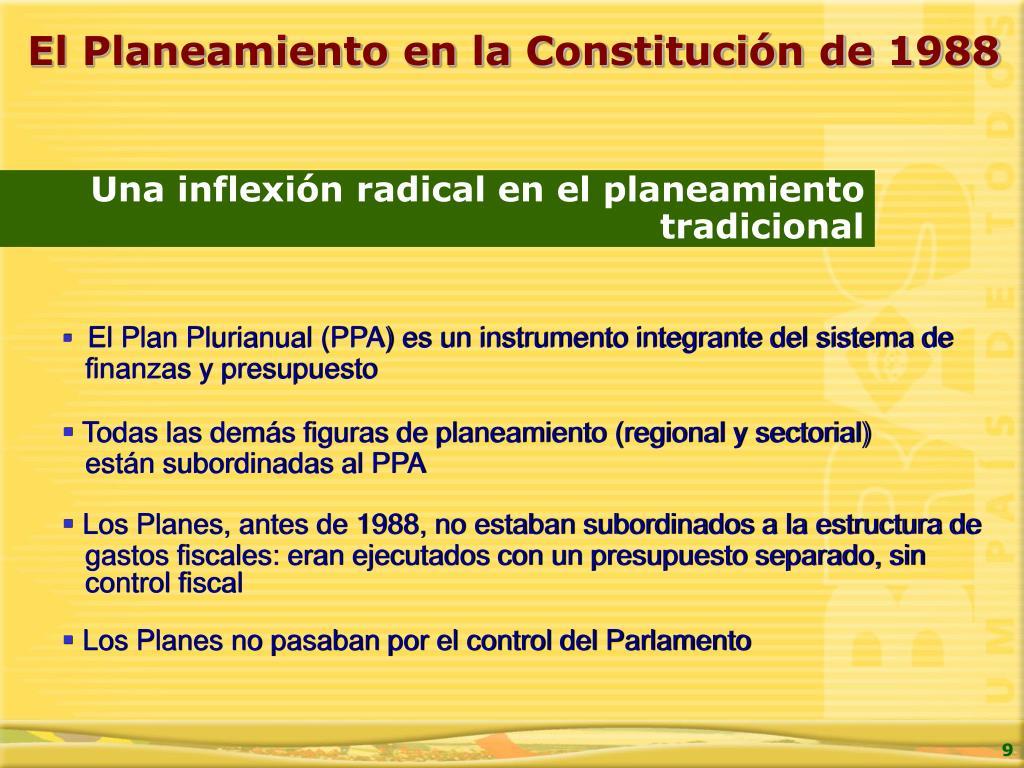 El Planeamiento en la Constitución de 1988