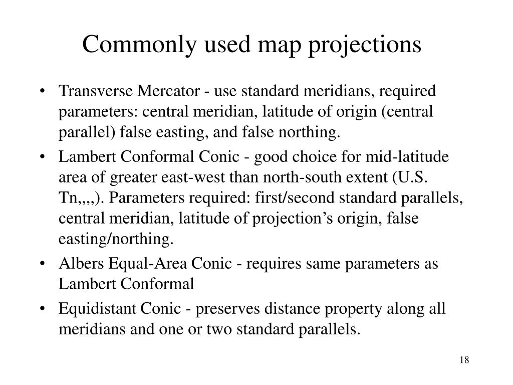 Commonly used map projections