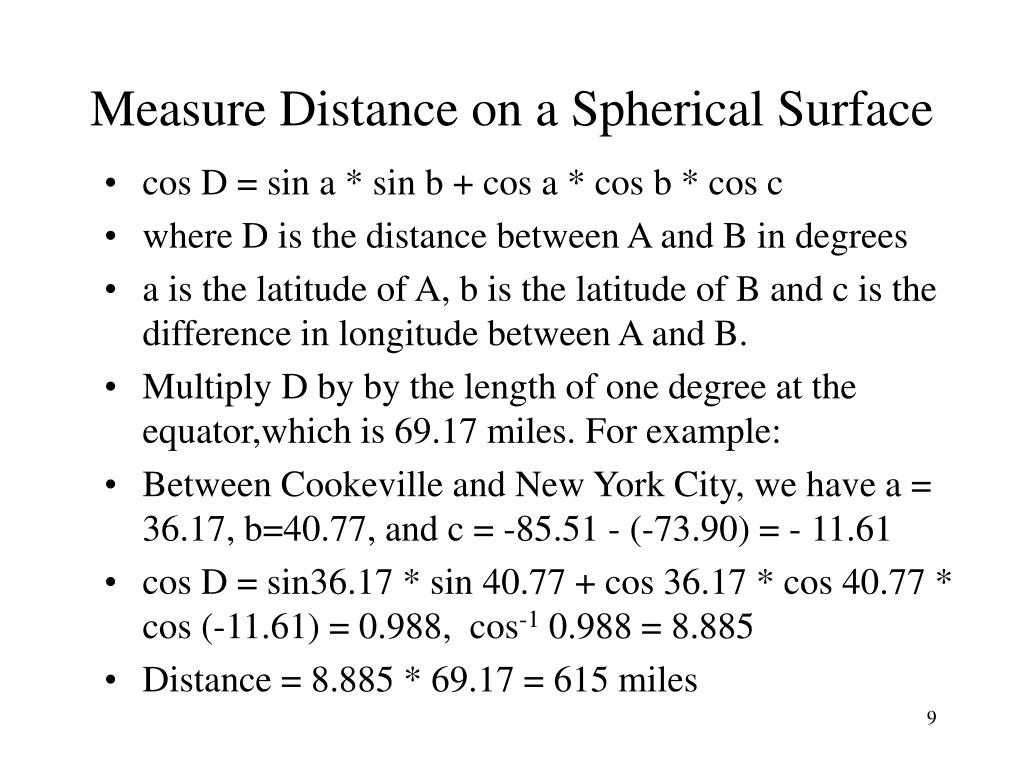 Measure Distance on a Spherical Surface