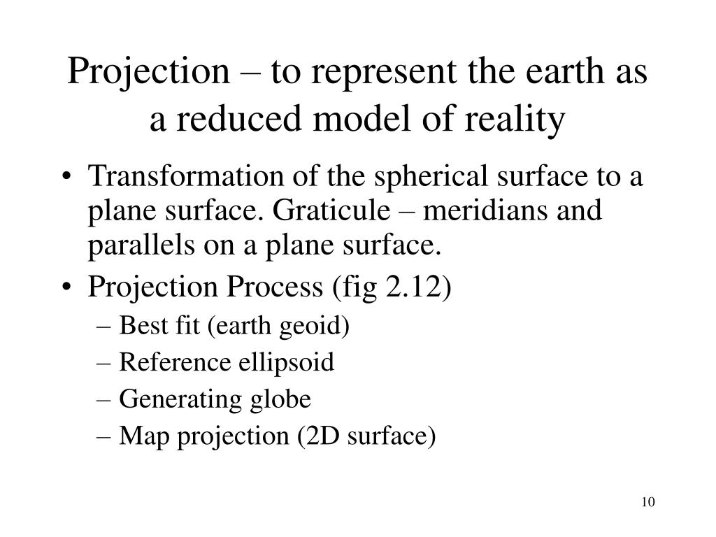 Projection – to represent the earth as a reduced model of reality