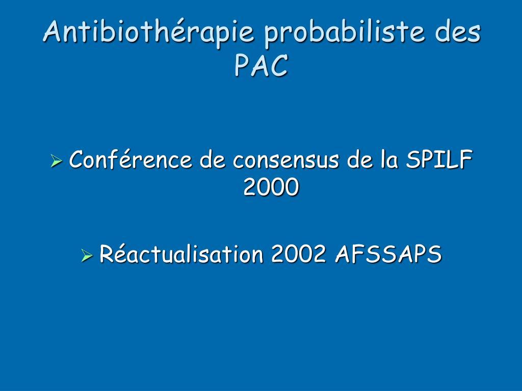 Antibiothérapie probabiliste des PAC
