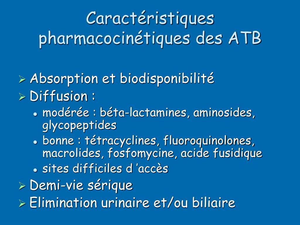 Caractéristiques pharmacocinétiques des ATB