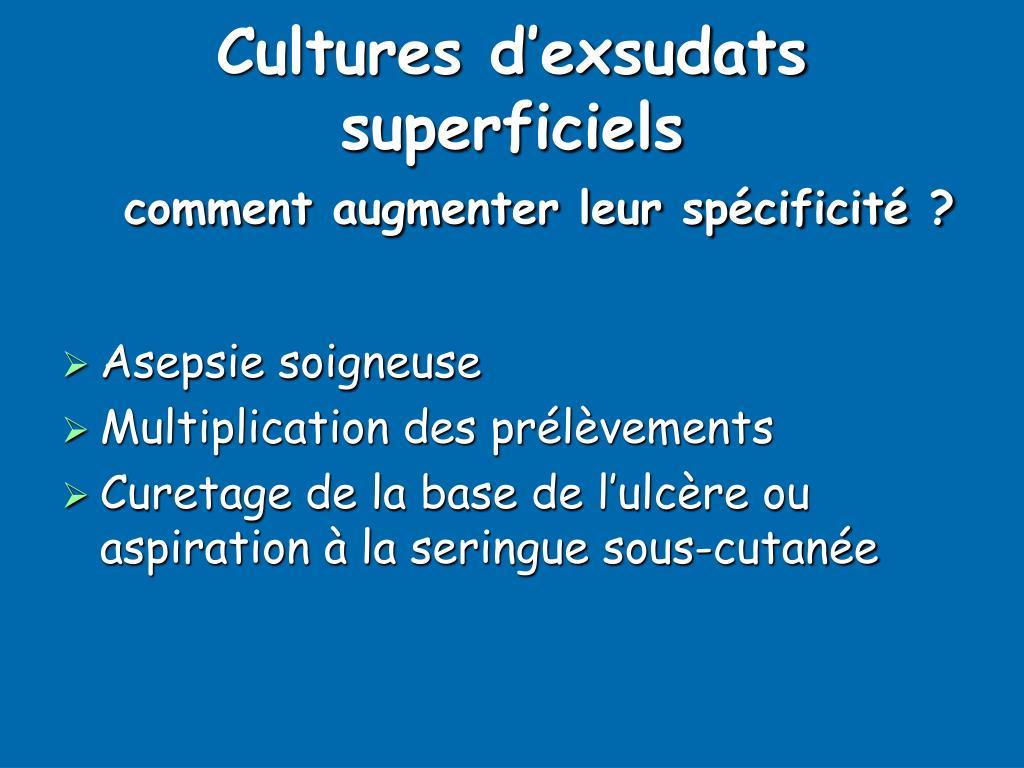 Cultures d'exsudats superficiels
