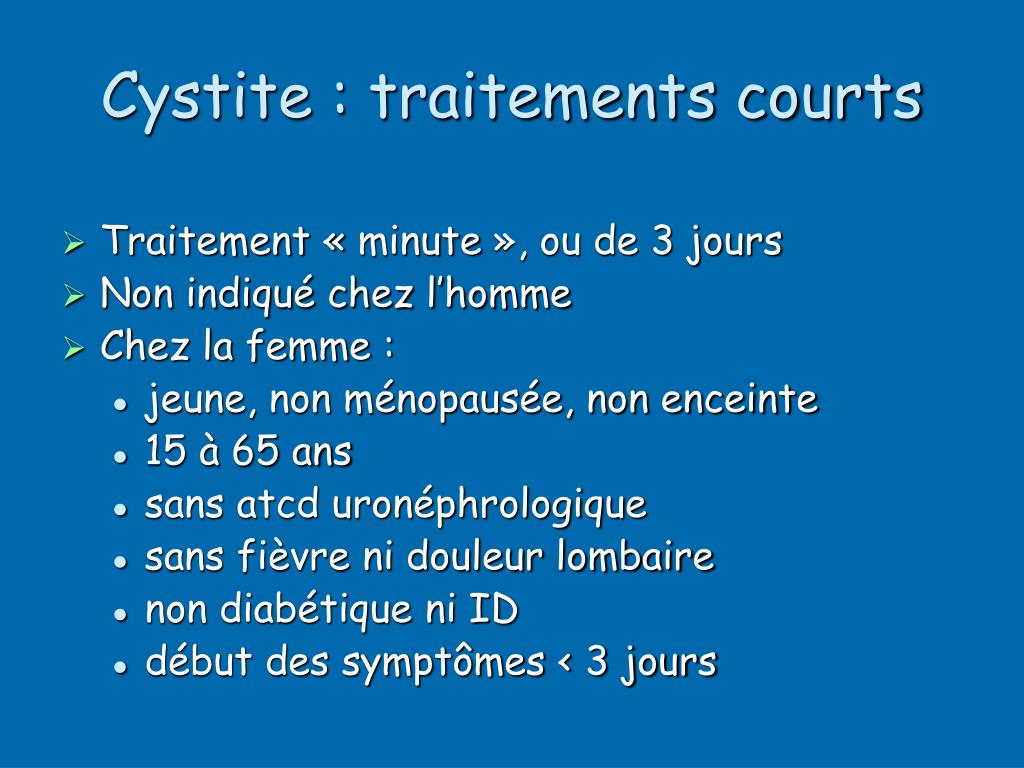 Cystite : traitements courts