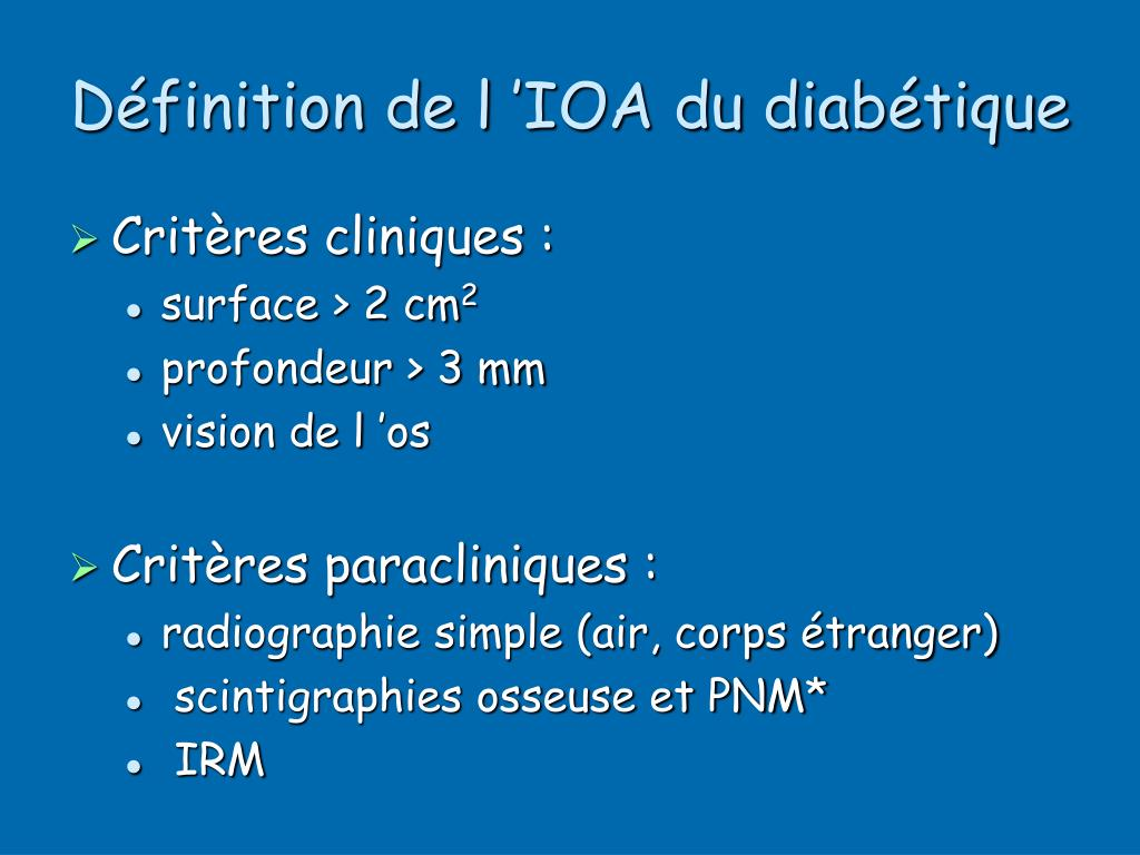 Définition de l'IOA du diabétique