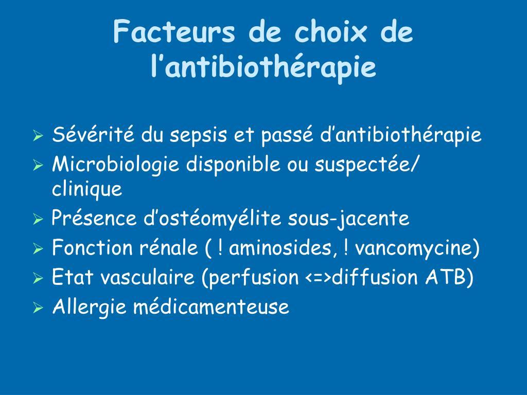 Facteurs de choix de l'antibiothérapie