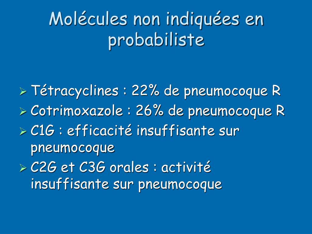 Molécules non indiquées en probabiliste