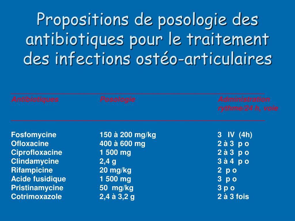 Propositions de posologie des antibiotiques pour le traitement des infections ostéo-articulaires