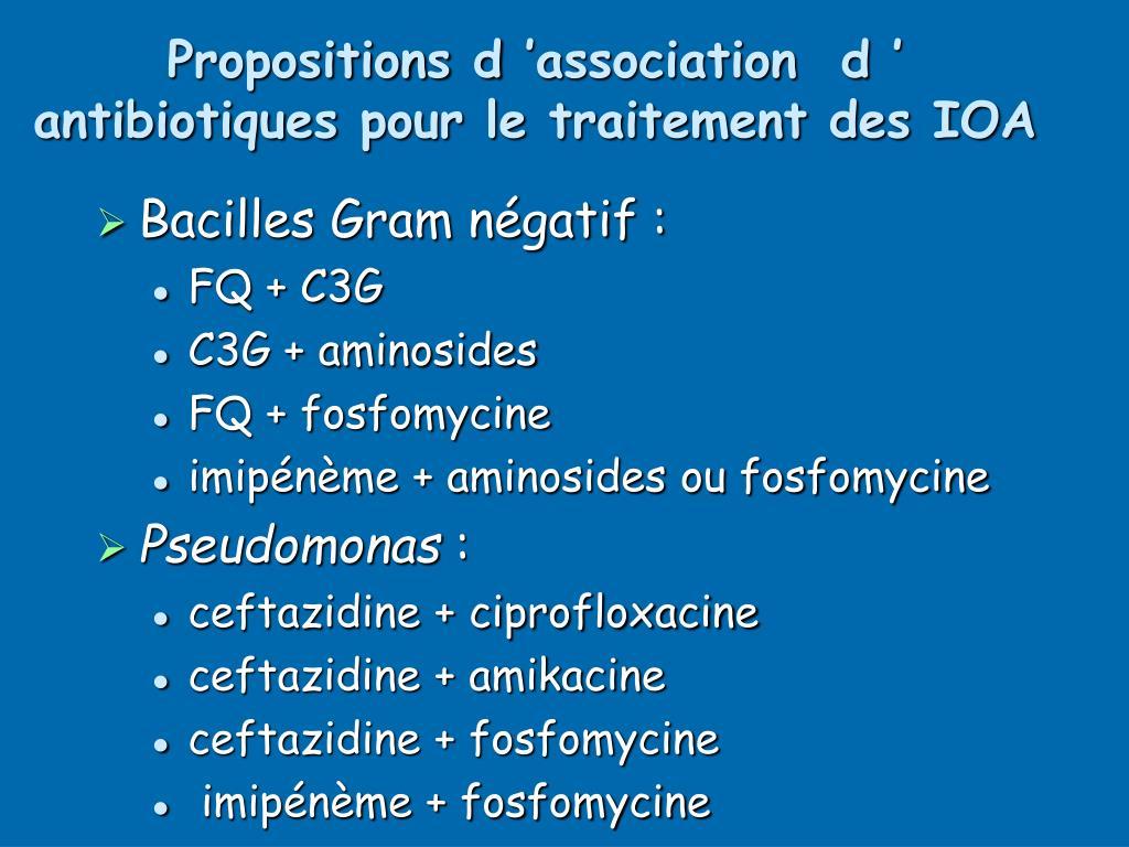 Propositions d'association  d' antibiotiques pour le traitement des IOA