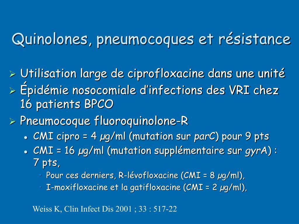 Quinolones, pneumocoques et résistance