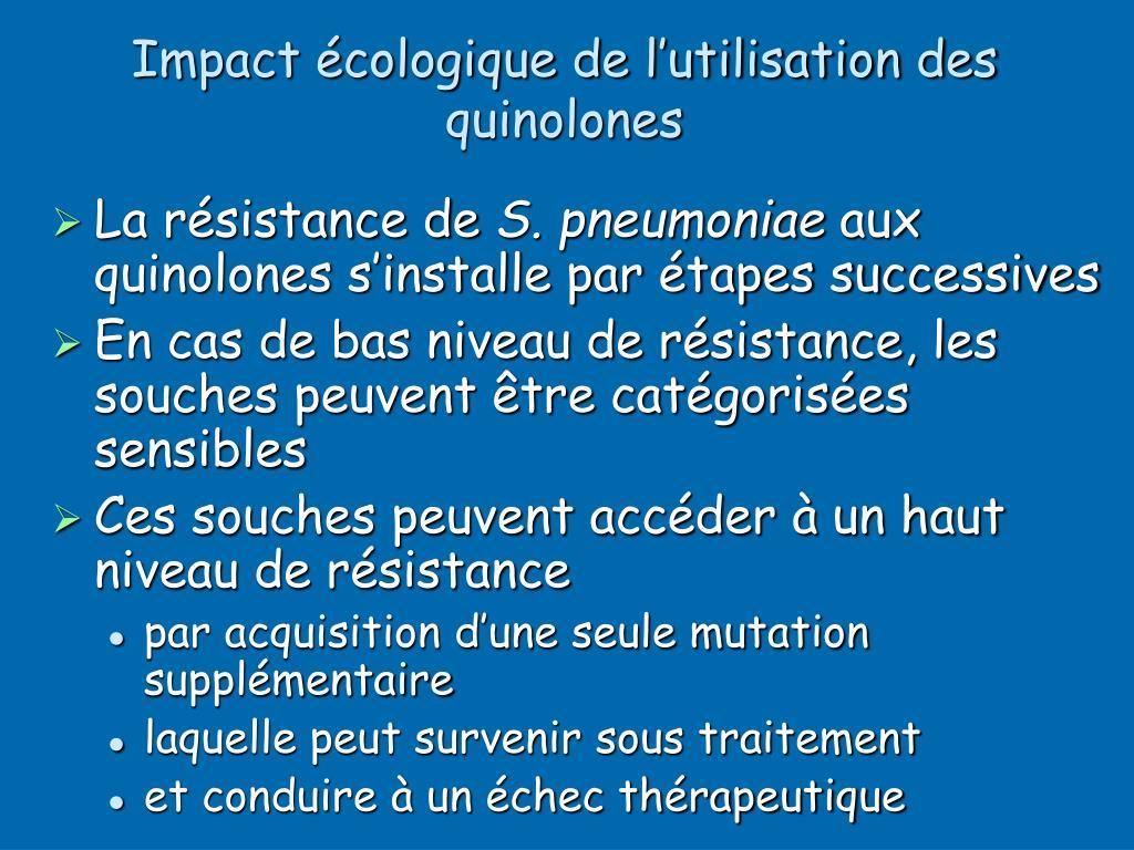 Impact écologique de l'utilisation des quinolones