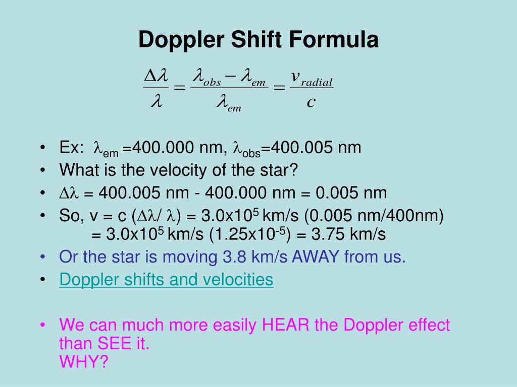 Doppler Shift Formula