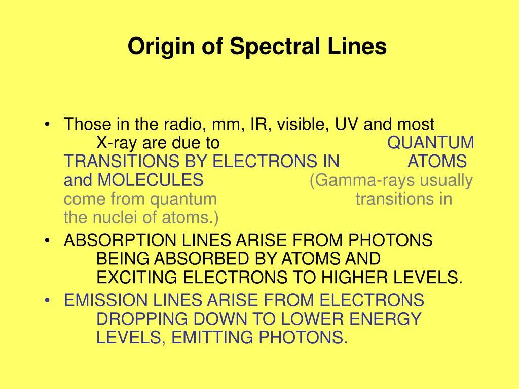 Origin of Spectral Lines