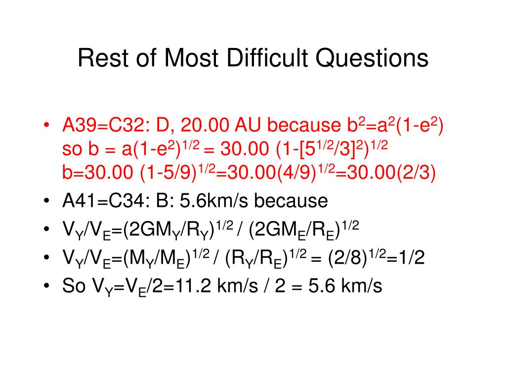 Rest of Most Difficult Questions