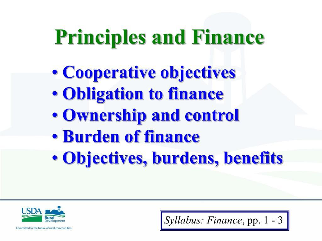 Principles and Finance
