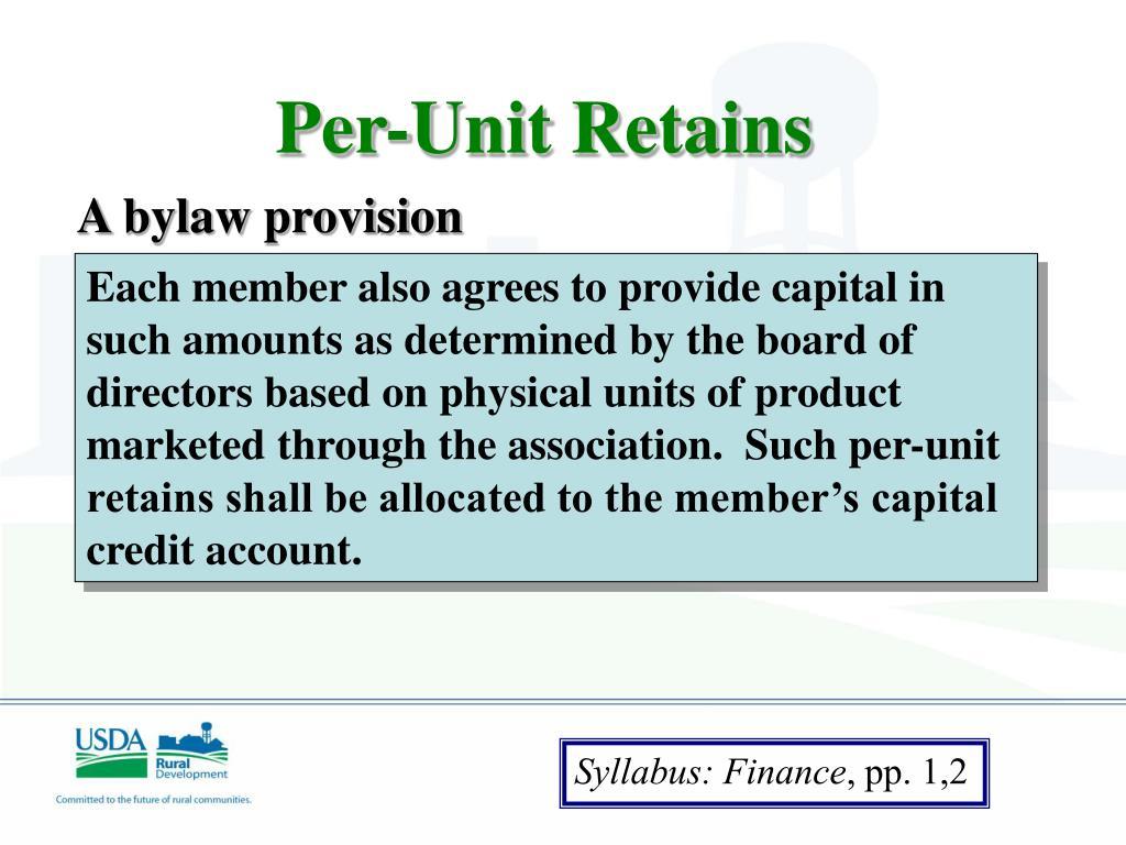 Per-Unit Retains