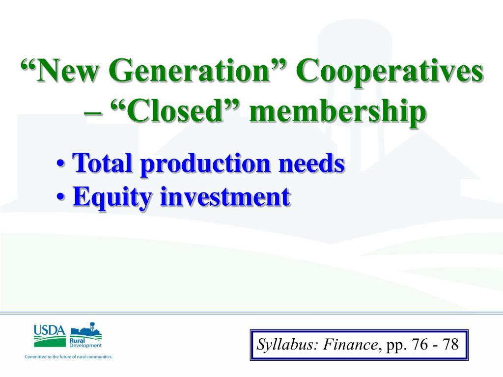 """New Generation"" Cooperatives"