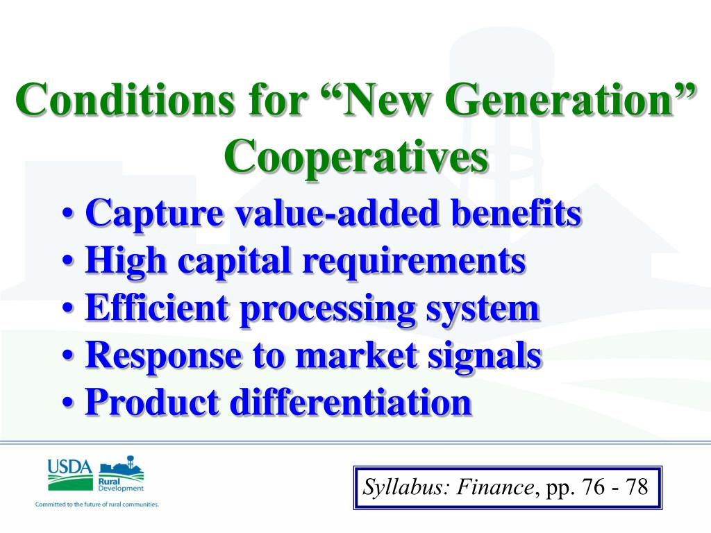 """Conditions for """"New Generation"""" Cooperatives"""