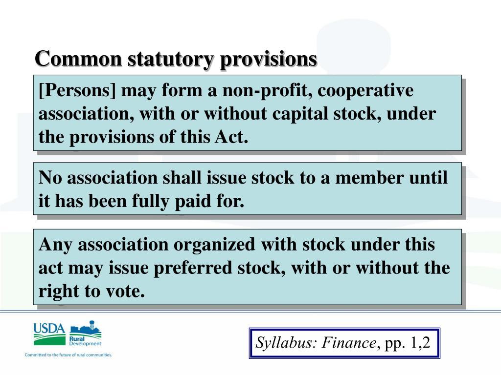 Common statutory provisions