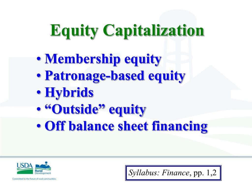 Equity Capitalization