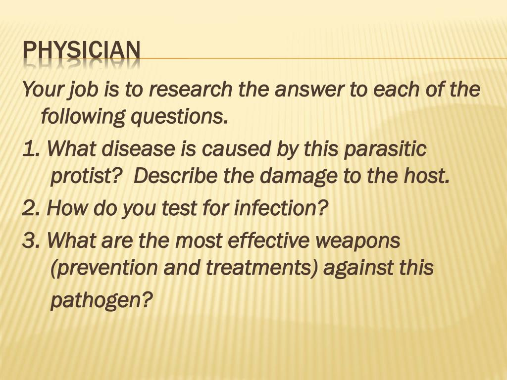 Your job is to research the answer to each of the following questions.