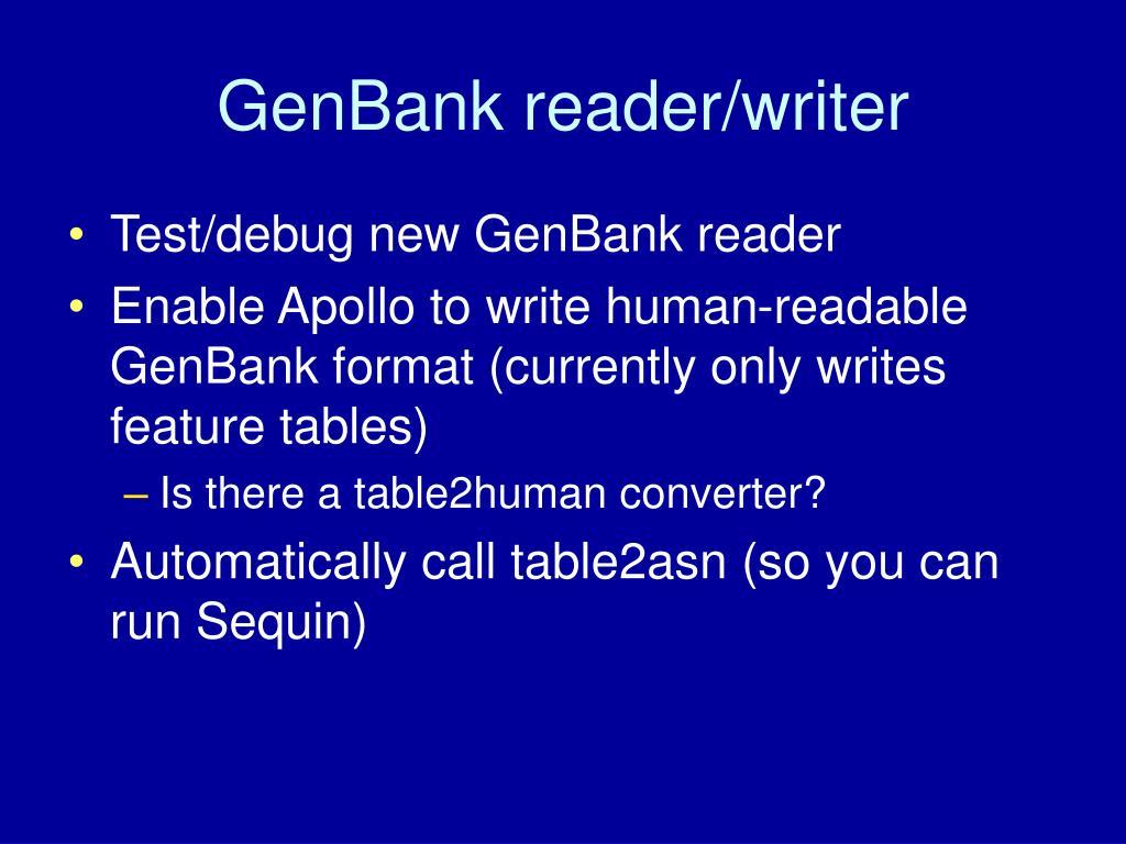 GenBank reader/writer