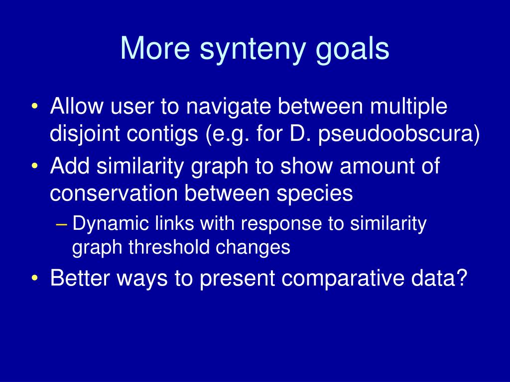 More synteny goals