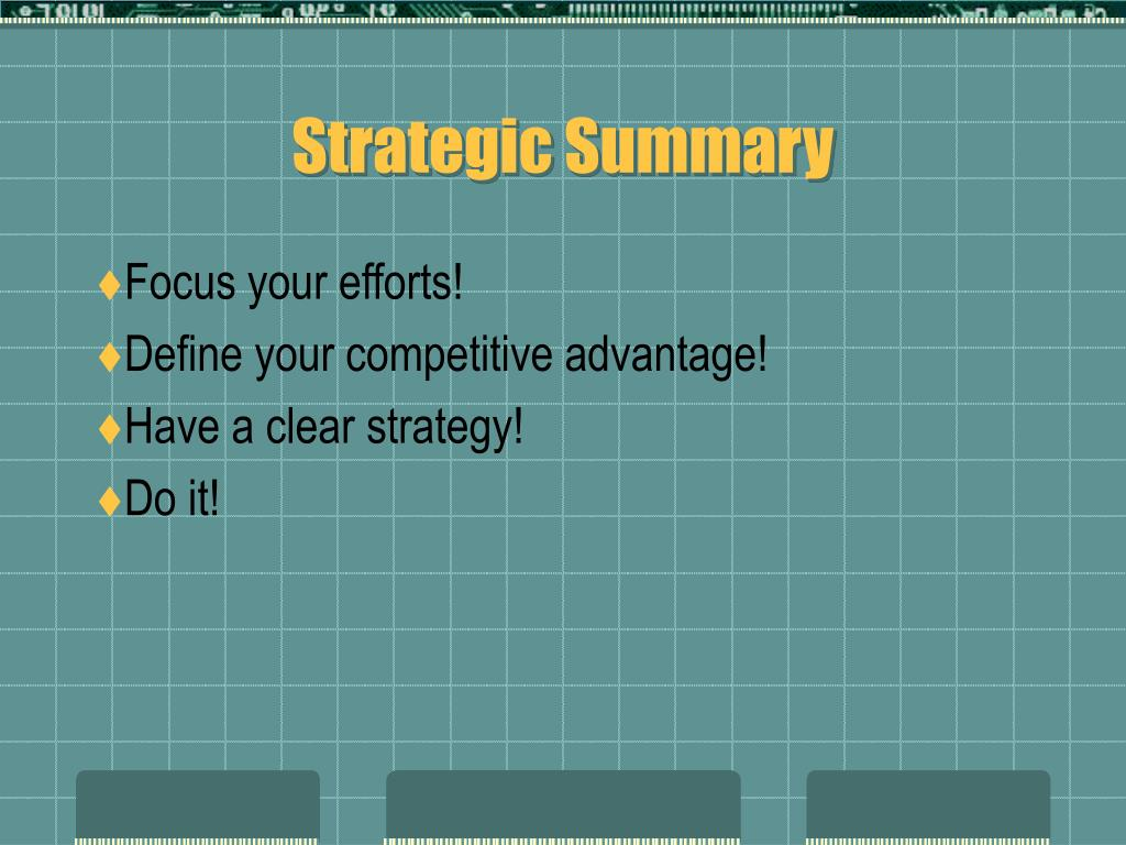 Strategic Summary