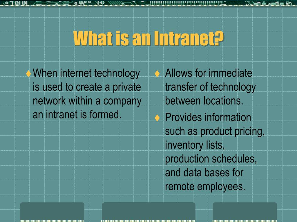When internet technology is used to create a private network within a company an intranet is formed.