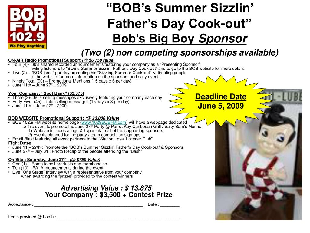 """BOB's Summer Sizzlin'"