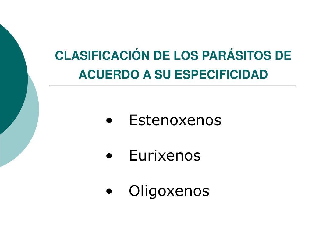 CLASIFICACIÓN DE LOS PARÁSITOS DE ACUERDO A SU ESPECIFICIDAD