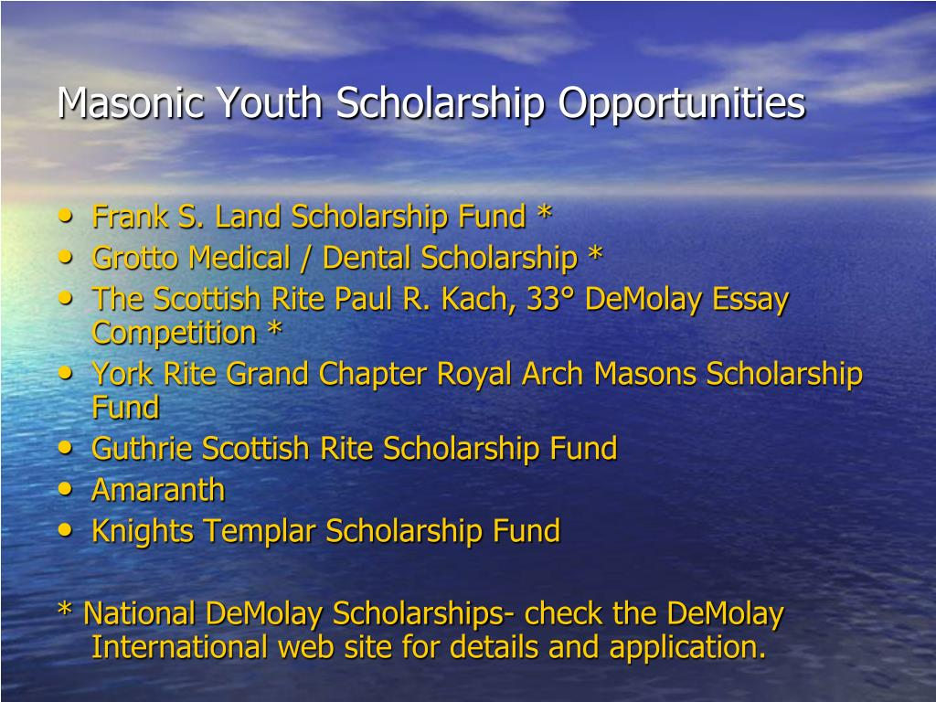 Masonic Youth Scholarship Opportunities