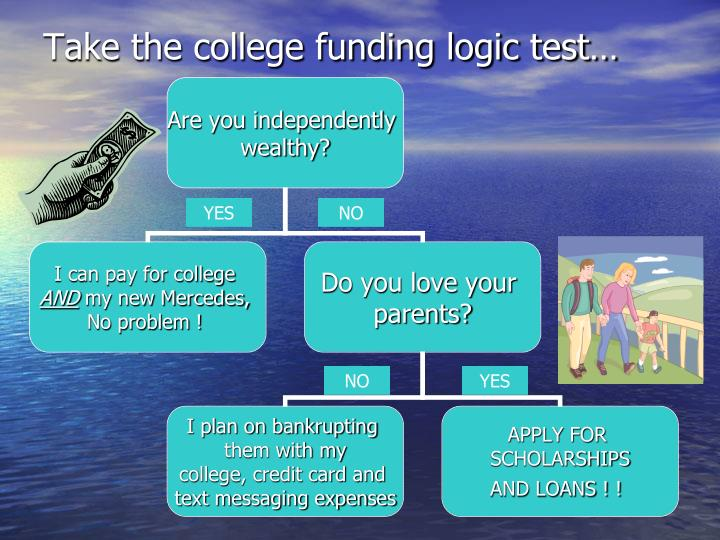 Take the college funding logic test