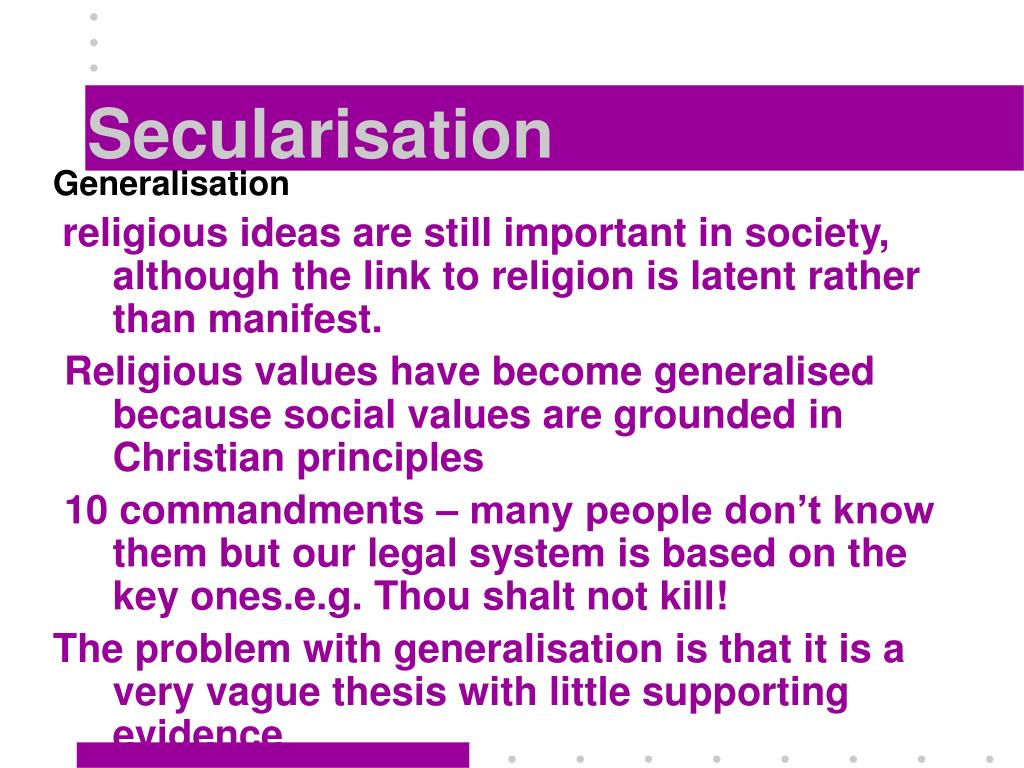 "secularization of religion essay Religion but the lack of it that needs explaining, is both radical and overdue asking instead ""what causes secularization"" turns the conceptual tables on the long- running conversation about religion in the western world."