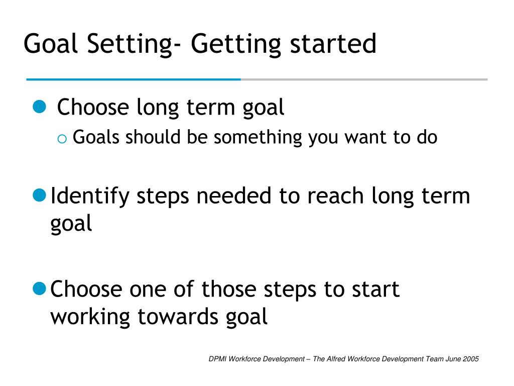 Goal Setting- Getting started