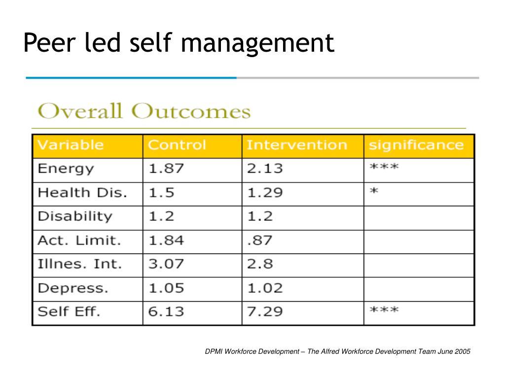 Peer led self management