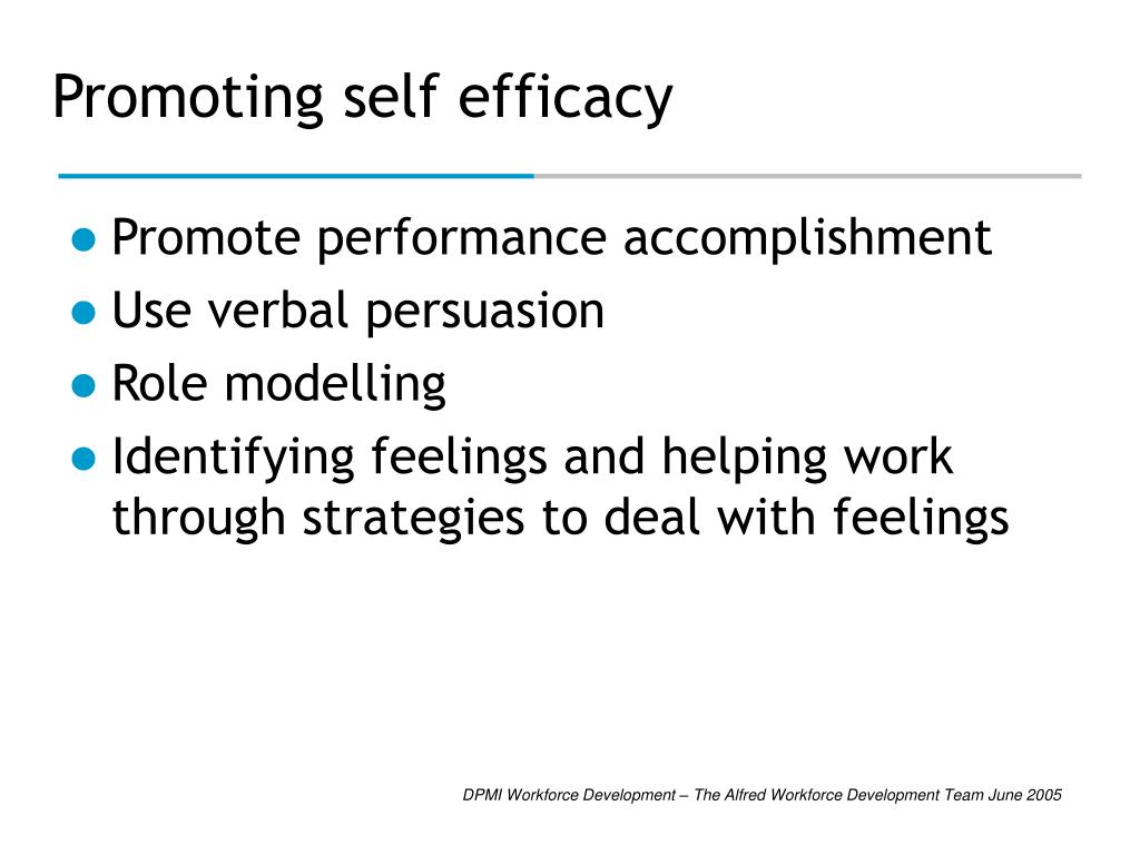 Promoting self efficacy