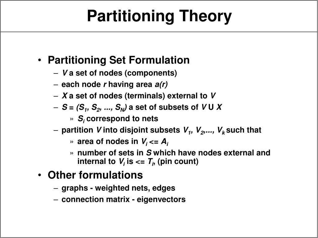 Partitioning Set Formulation