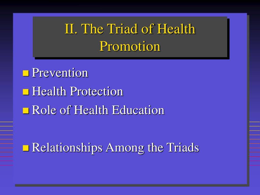 II. The Triad of Health Promotion